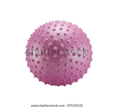 Pink spiky ball isolated on a white background - stock photo