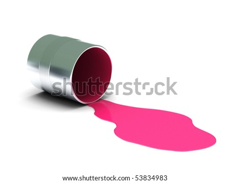 Pink spilled paint isolated on white background. High quality 3d render. - stock photo