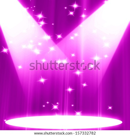 pink spotlight on stage with some glitter and sparkle - stock photo