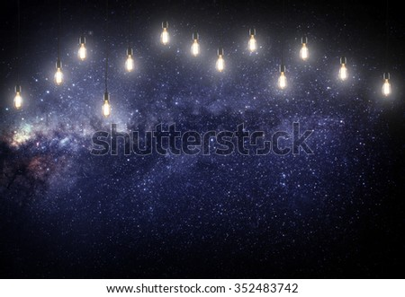 pink stars in the galaxy with lamps. Some elements of this image furnished by NASA - stock photo