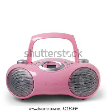 Pink stereo CD mp3 radio cassette recorder - stock photo