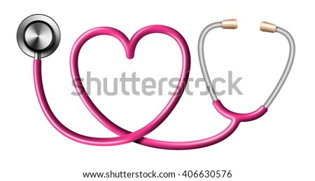 Pink Stethoscope In Shape Of Heart on White Background - stock photo
