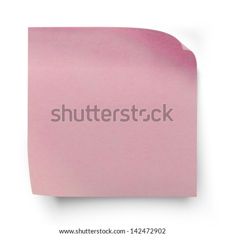 Pink sticker paper note isolated on white with clipping  path
