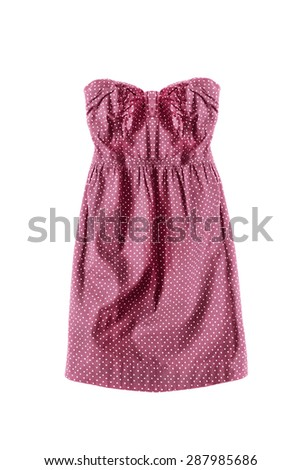 Pink strapless dress on white background