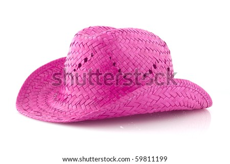 Pink Straw hat isolated on white background. - stock photo