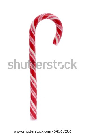 pink stripy candy cane isolated on a white background - stock photo