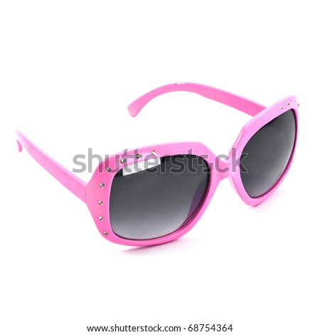 pink sunglasses isolated on a white background - stock photo