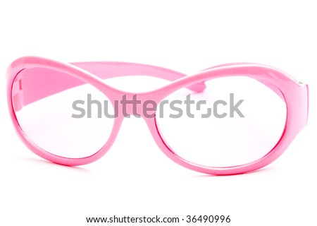 Pink sunglasses, isolated on white background - stock photo