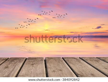 pink sunset - stock photo