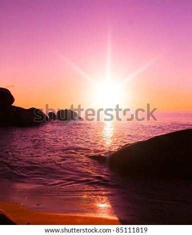 Pink Sunset Evening Landscape - stock photo