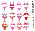 pink swimwear collection - stock photo