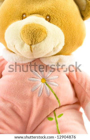Pink teddy bear close up, isolated on white, with flower - stock photo