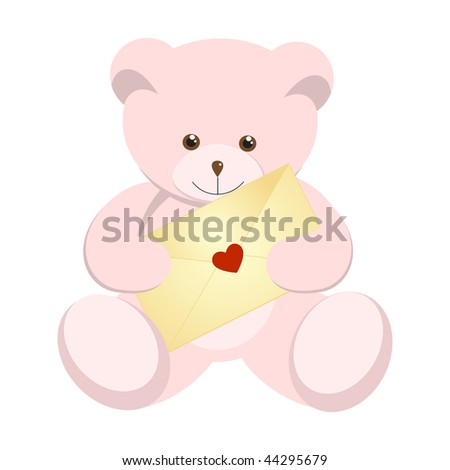 Pink teddy bear for Valentine's Day.