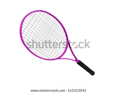 Pink tennis racket isolated on white background - stock photo