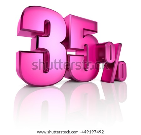 Pink thirty five percent sign isolated on white background. 3d rendering - stock photo