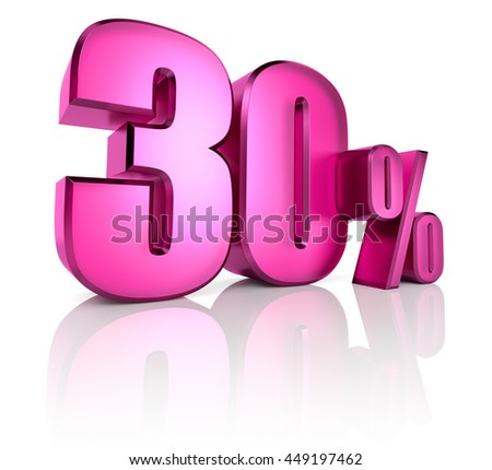 Pink thirty percent sign isolated on white background. 3d rendering - stock photo