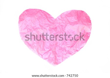 Pink Tissue Paper Heart - stock photo