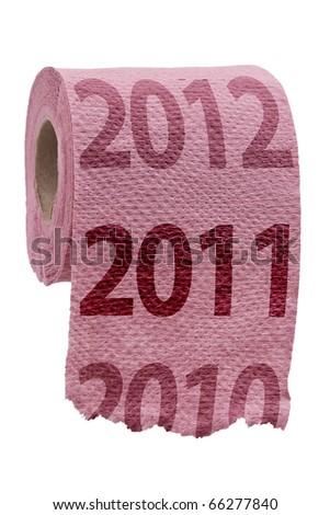 Pink Toilet Paper isolated on white, new year concept - stock photo