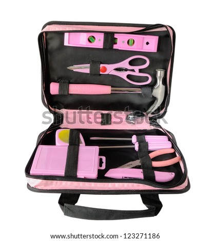Pink tool bag isolated on white - stock photo