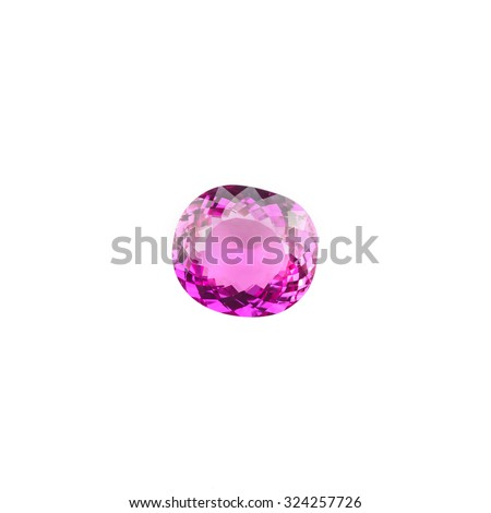 pink tourmaline gemstones isolated on white background. - stock photo
