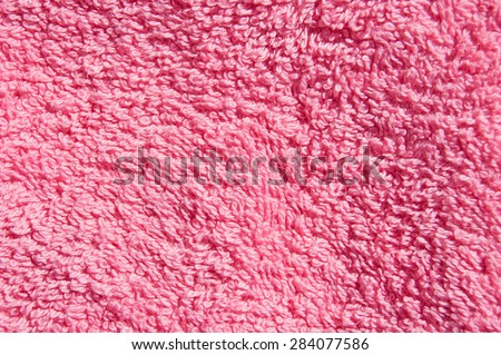 pink towel texture. Closeup cloth