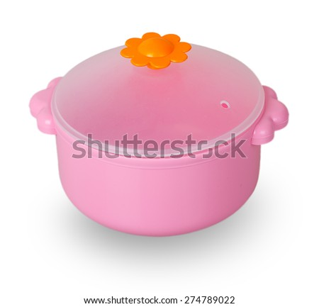 Pink toy pan isolated on white background - stock photo