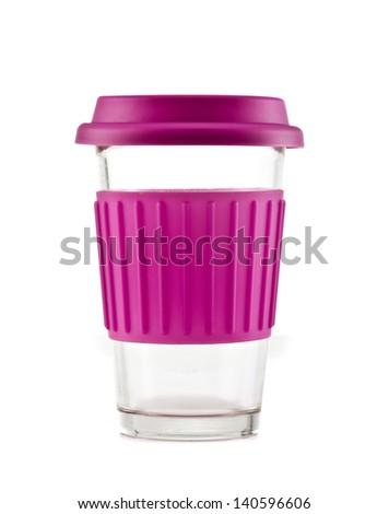 Pink travel mug isolated on white background - stock photo