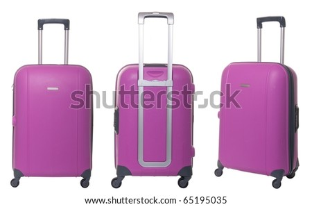 pink travel suitcase collection isolated on white background - stock photo