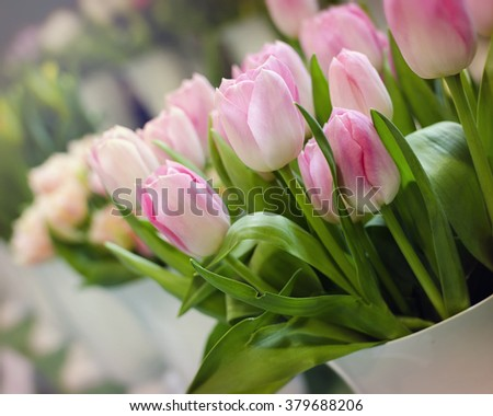 Pink tulips in a vase at market or in a florist shop.