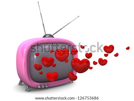 Pink TV with read hearts. White background. - stock photo