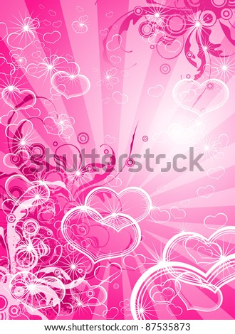 Pink valentines background - floral ornament & hearts. Bitmap copy my vector id 8367343 - stock photo