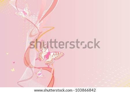 pink vertical background with butterfly