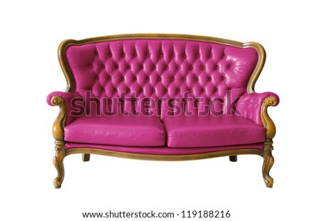 pink Victorian leather sofa in white grunge room