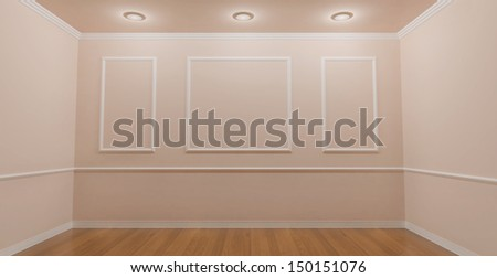 Pink victorian Room with 3 spotlights / frontal view - stock photo