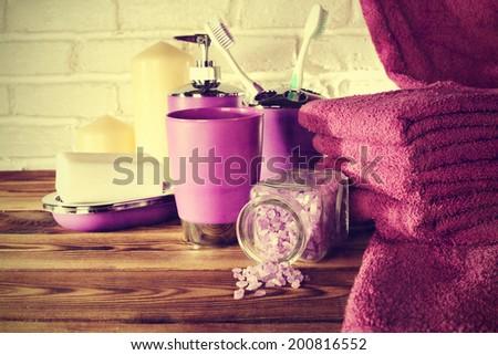 pink vintage bathroom  - stock photo