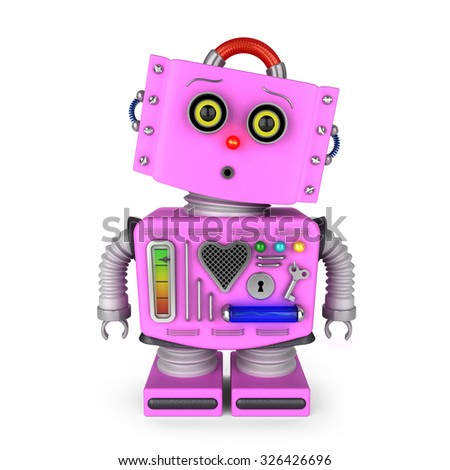 Pink vintage toy robot girl over white background with surprised facial expression