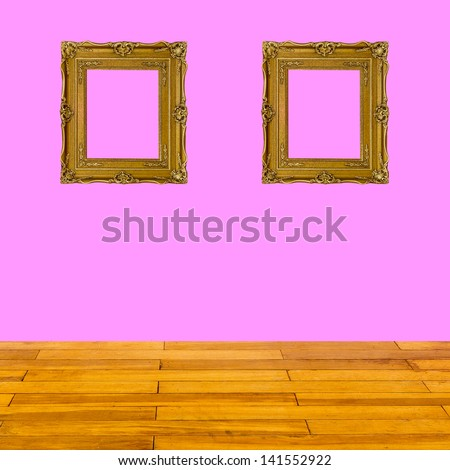 pink wall and wood floor texture interior - stock photo