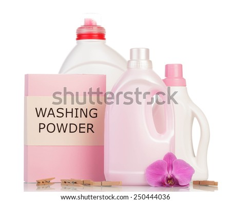 Pink washing powder and Cleaning items on white - stock photo