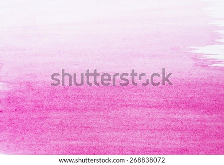 Pink watercolor background, white paper - stock photo