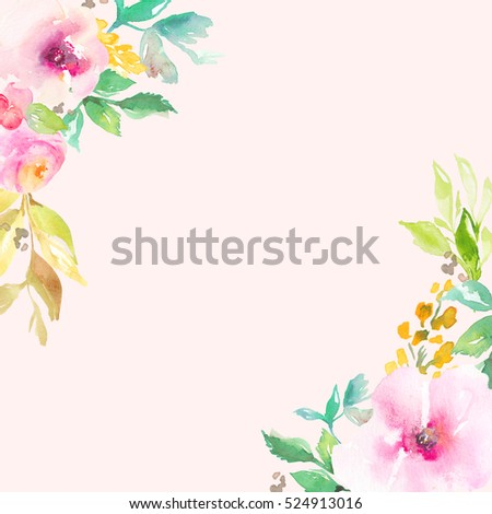 Pink Watercolor Flower Frame Flowers Corner Spring