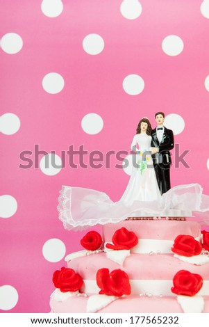 Pink wedding cake with red roses and couple on top on colorful background