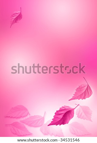 pink -white abstract background with leafs
