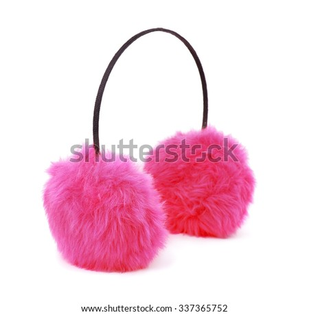 Pink winter fur earmuffs isolated on white - stock photo