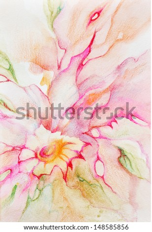 Pink with red and yellow hues flower with bright graphic accents, watercolor