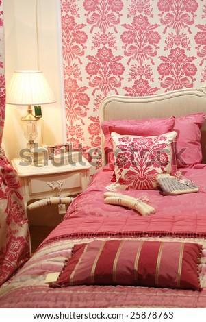 Pink woman interior bedroom - stock photo