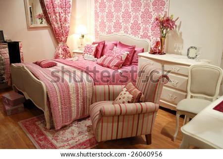 Pink woman interior bedroom 4 - stock photo
