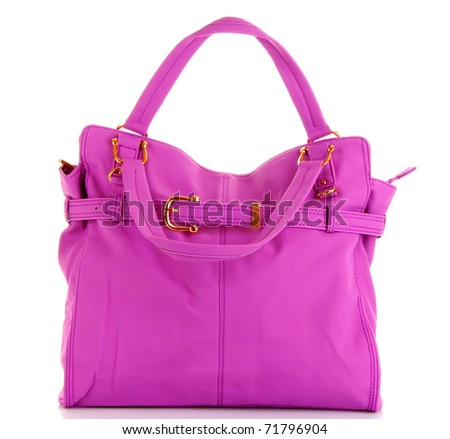 Pink women bag isolated on white background - stock photo