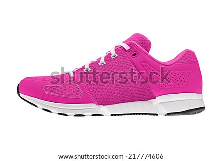 pink womens sport shoes - stock photo