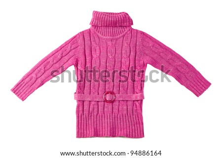 pink wool sweater isolated on white background - stock photo