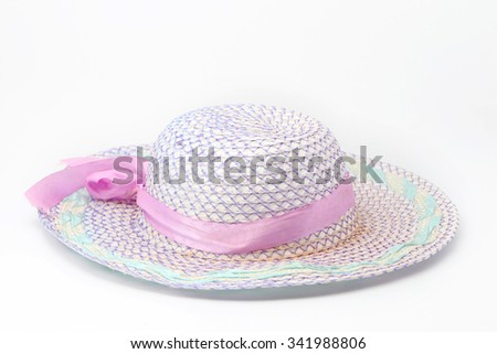 pink woven hat on white background - stock photo